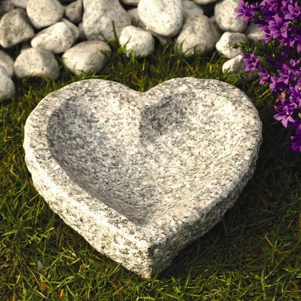 Vogeltränke Herzförmig Länge 20 cm, Granit hellgrau.